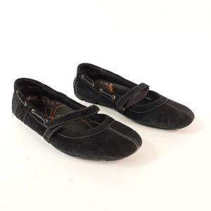 TImberland Black Suede Ballet Flat with Strap Sz 7